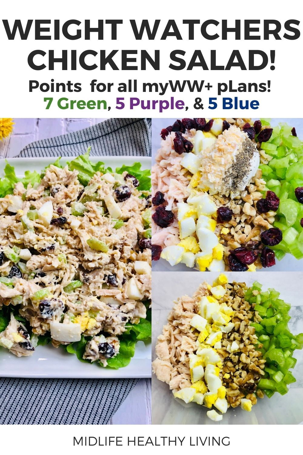 Pin showing the points and title at the top and the finished weight watchers chicken salad on a plate ready to eat.