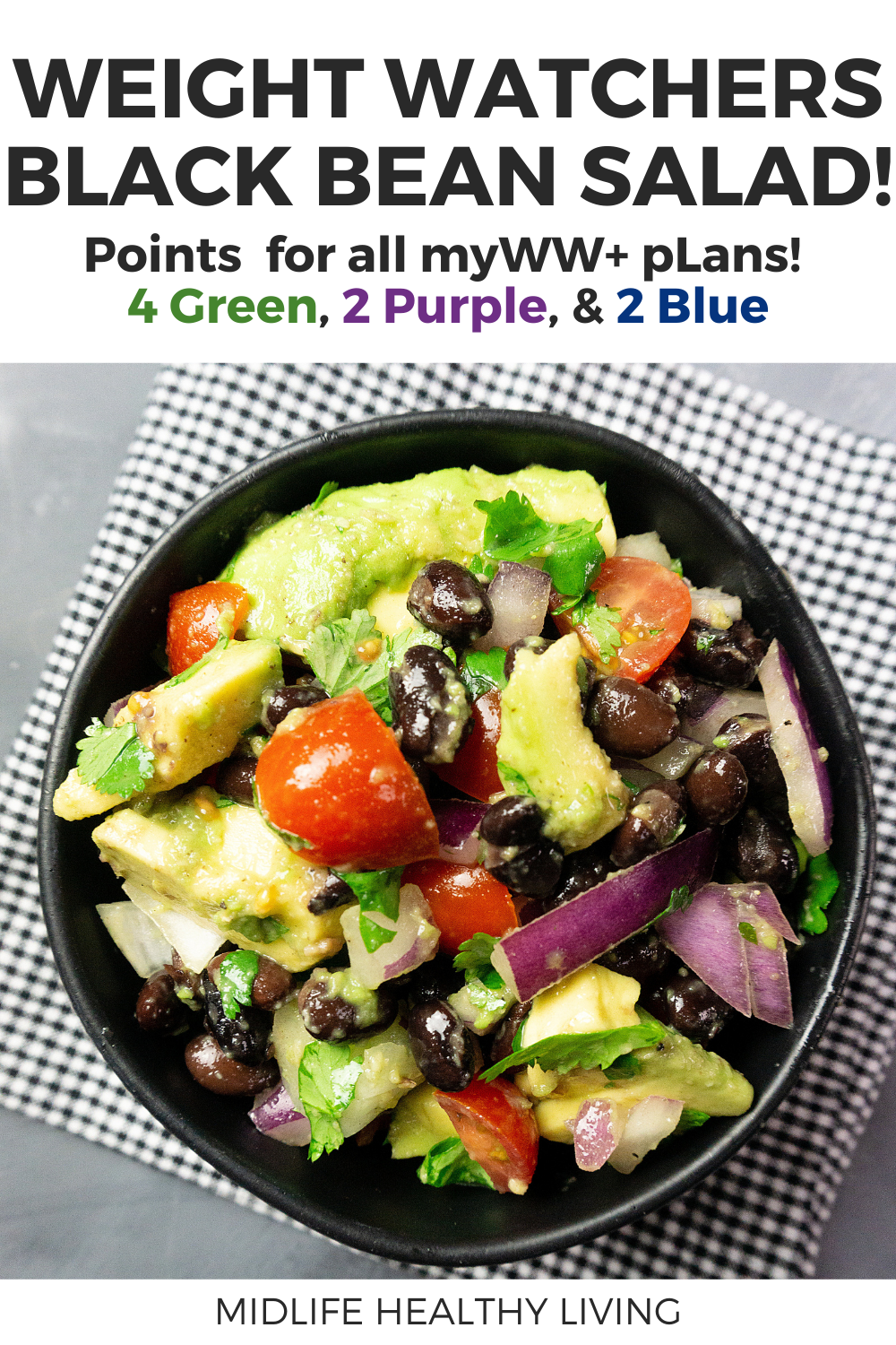 Pin showing the finished weight watchers black bean salad with points and title at the top of the images.