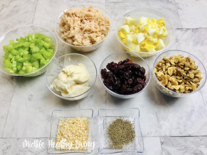 all the ingredients needed to make weight watchers chicken salad.