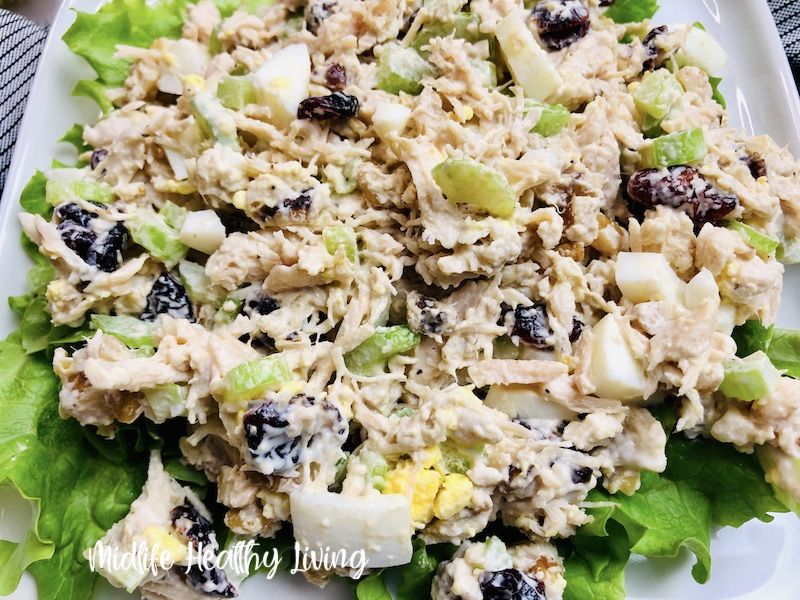 A close up of the finished weight watchers chicken salad.
