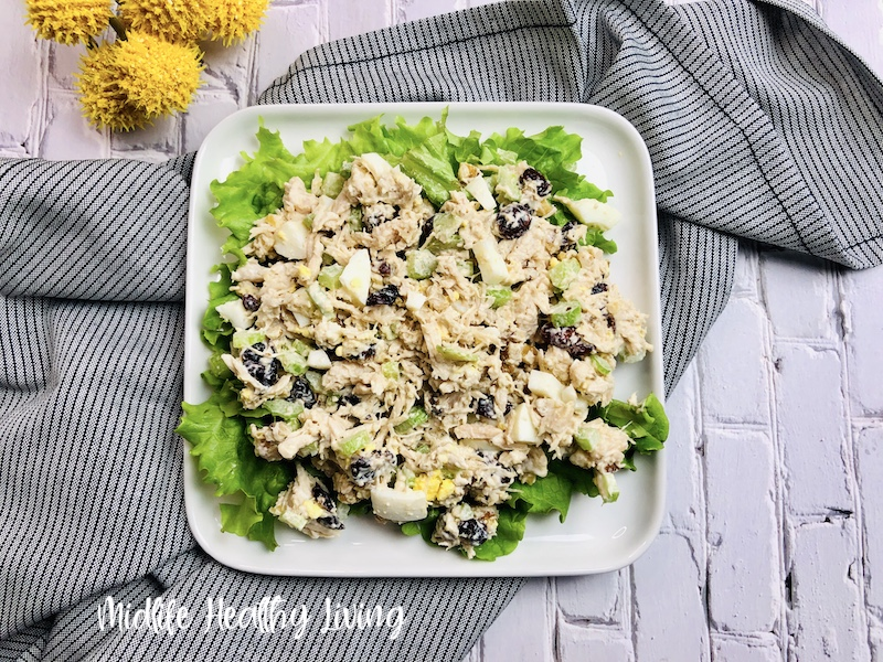 A top down look at the finished chicken salad.