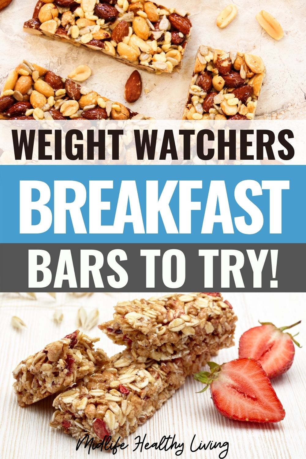 Pin showing the weight watchers breakfast bars ready to eat with title in the middle.