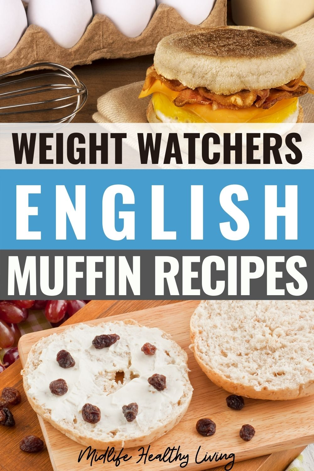 Pin showing the finished weight watchers English muffin recipes ready to eat with title across the middle.