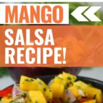Pin showing the finished Weight Watchers mango salsa ready to eat with title across the top.