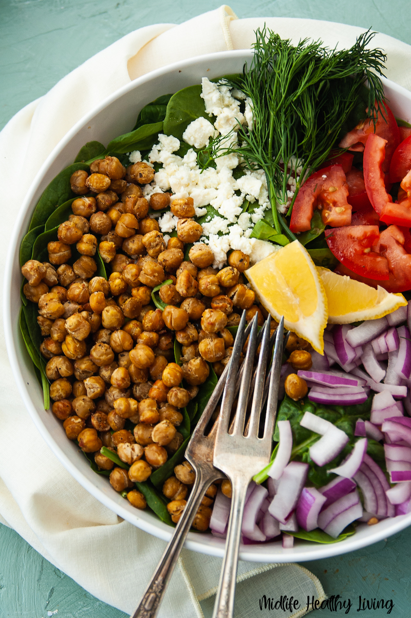 Roasted chickpeas in a salad ready to be enjoyed.