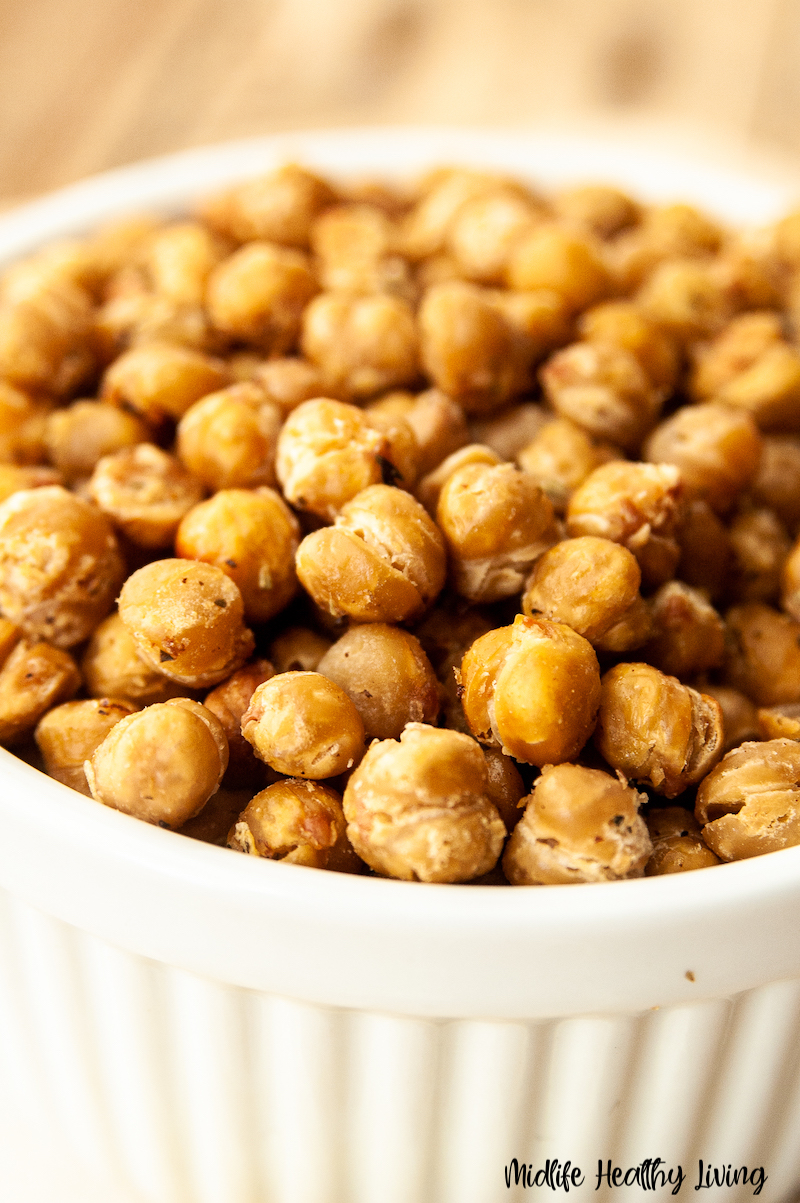 A bowl full of the finished weight watchers roasted chickpeas ready to be enjoyed.