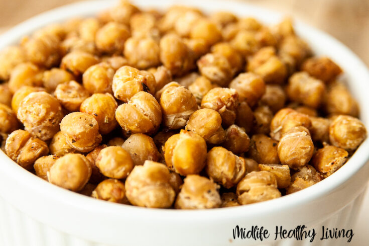 Featured image showing the finished roasted chickpeas ready to eat.