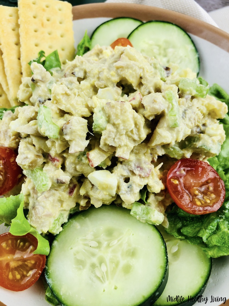 A close up of the finished tuna salad ready to be enjoyed.