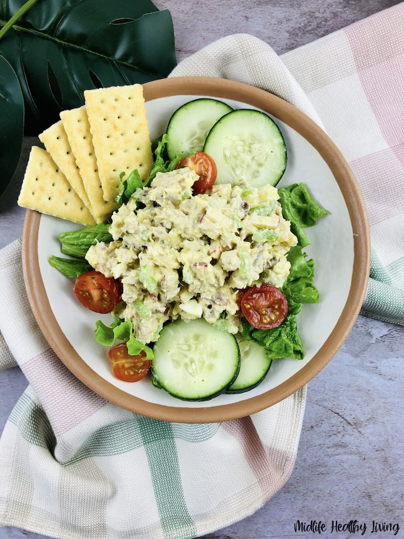 Finished weight watchers tuna salad ready to eat.