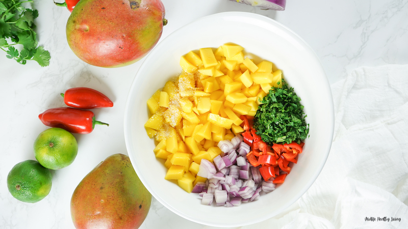 prepping the ingredients for our mango salsa