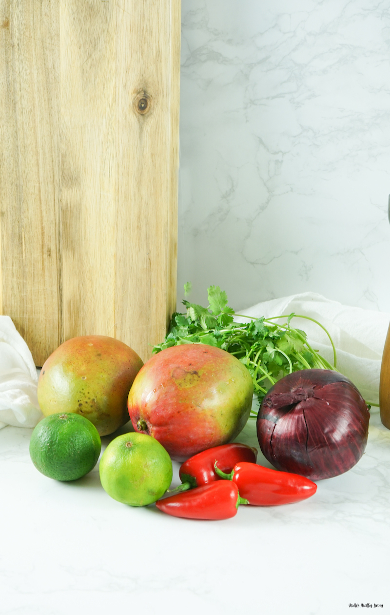 photo of the ingredients needed for weight watchers mango salsa.