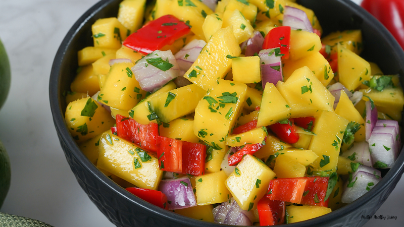 A close up of the finished mango salsa for weight watchers ready to eat.