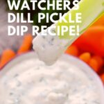 Pin showing the finished weight watchers dill dip with title in the corner.