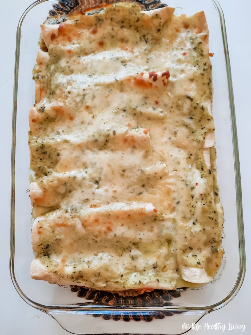 Fresh from the oven the weight watchers turkey enchiladas ready to be enjoyed.