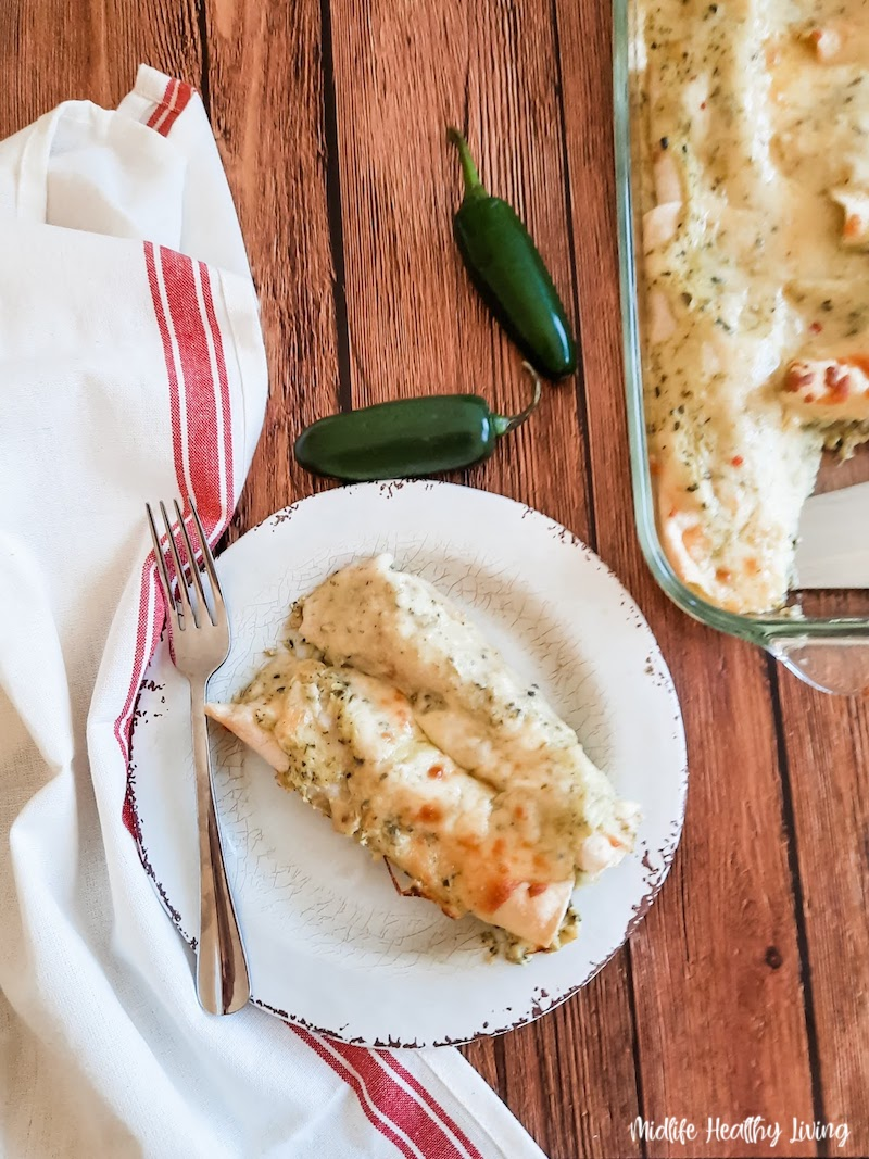 A look at the finished weight watchers turkey enchiladas ready to eat.