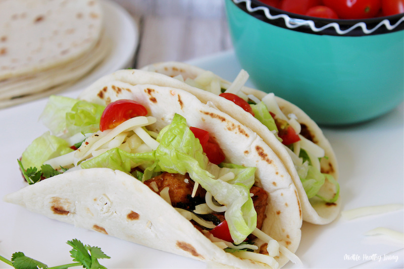 A view of the finished tacos ready to be enjoyed.