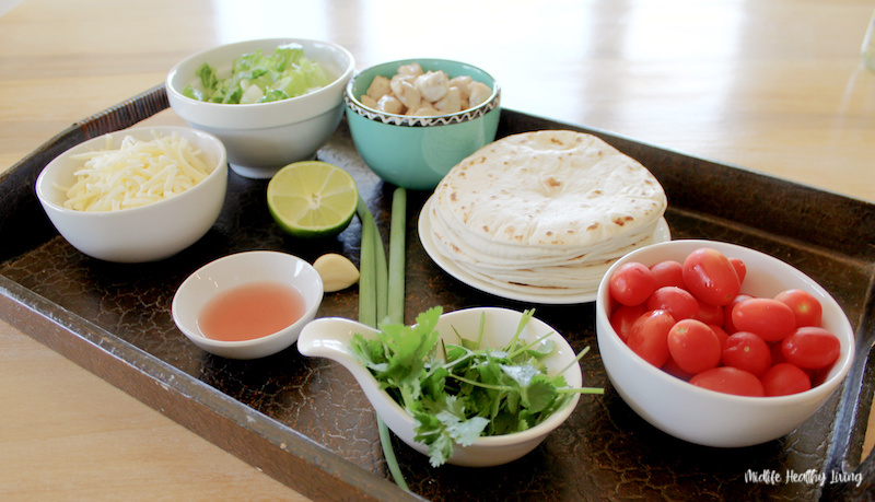 another look at the ingredients for weight watchers chicken lime tacos laid out ready to be used.