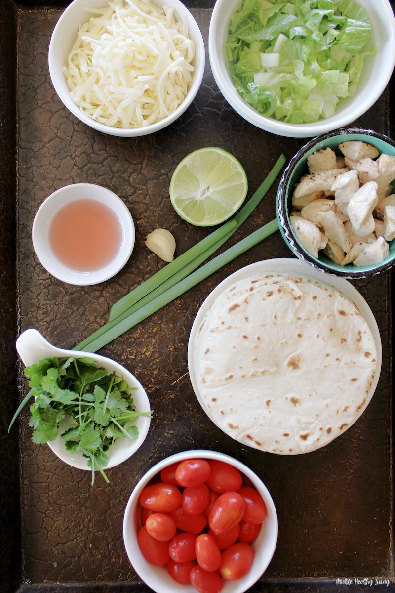 Ingredients needed to make weight watchers chicken tacos.