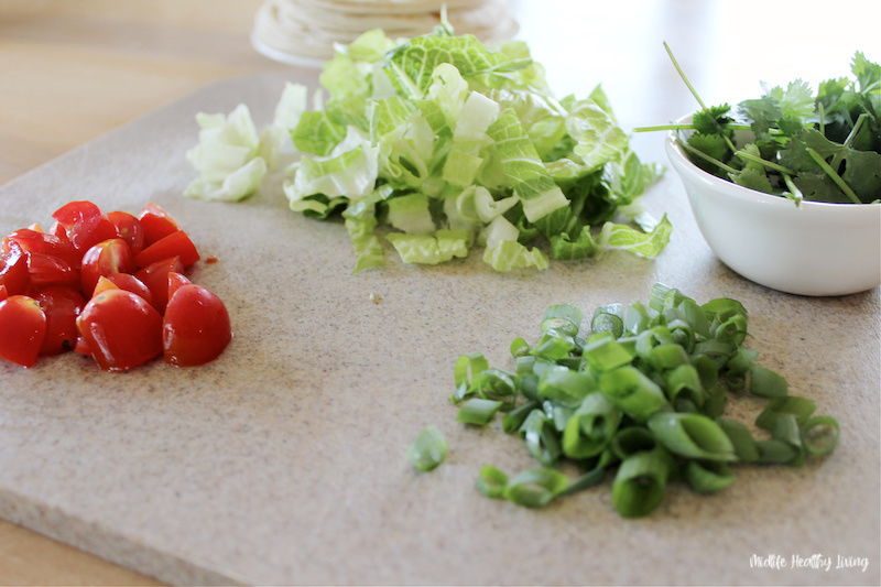 Ingredients for topping chopped and ready to be used.