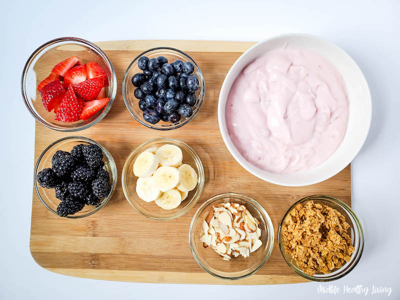 All the ingredients needed to make a weight watchers trifle recipe
