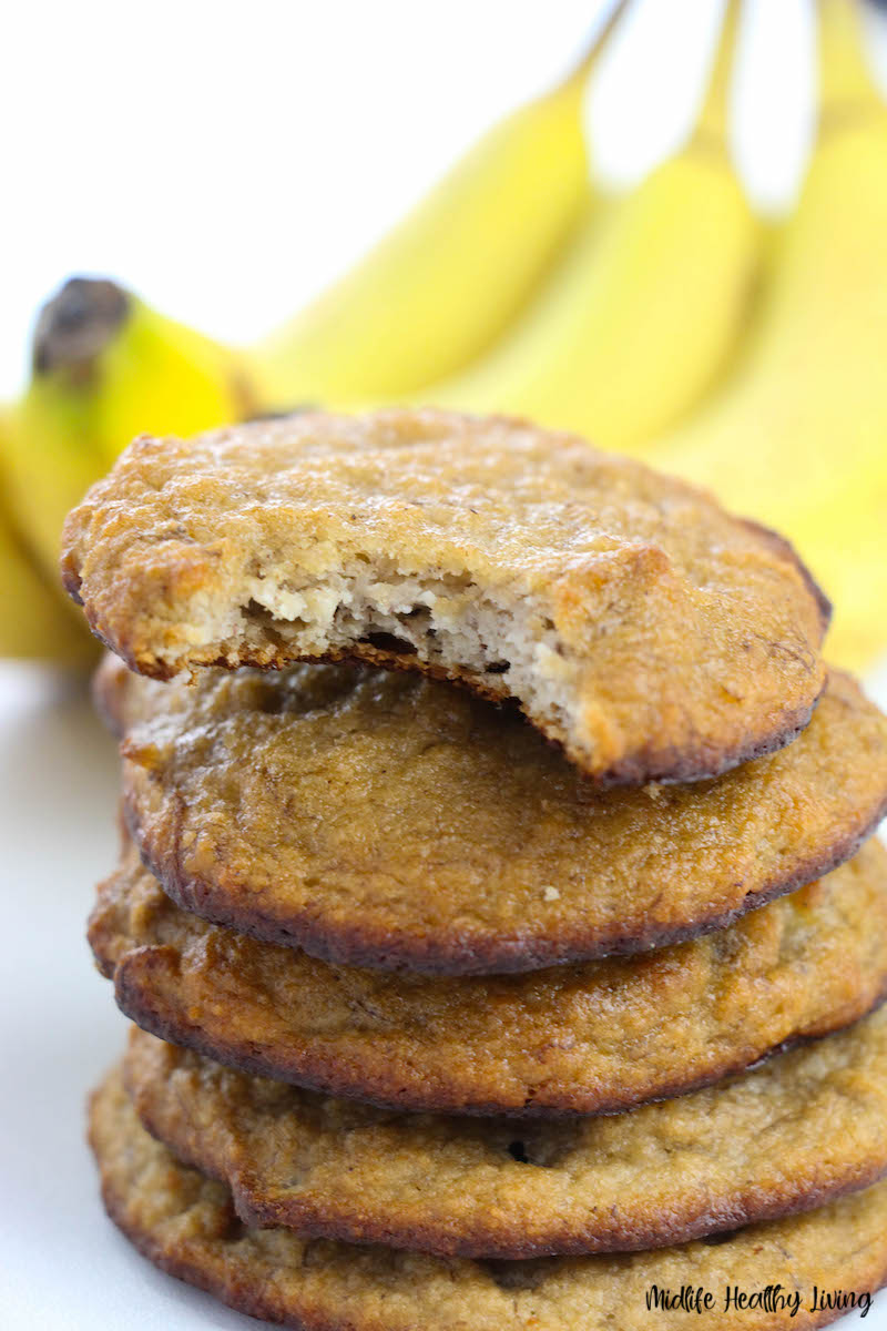 Finished recipe for banana cookies with bite out of one.