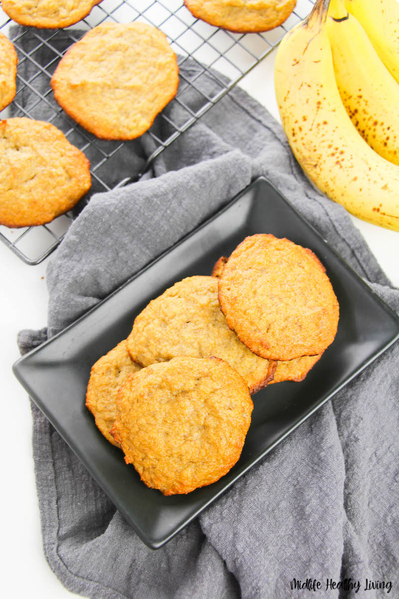 A top down look at the finished banana cookies recipe ready to eat.