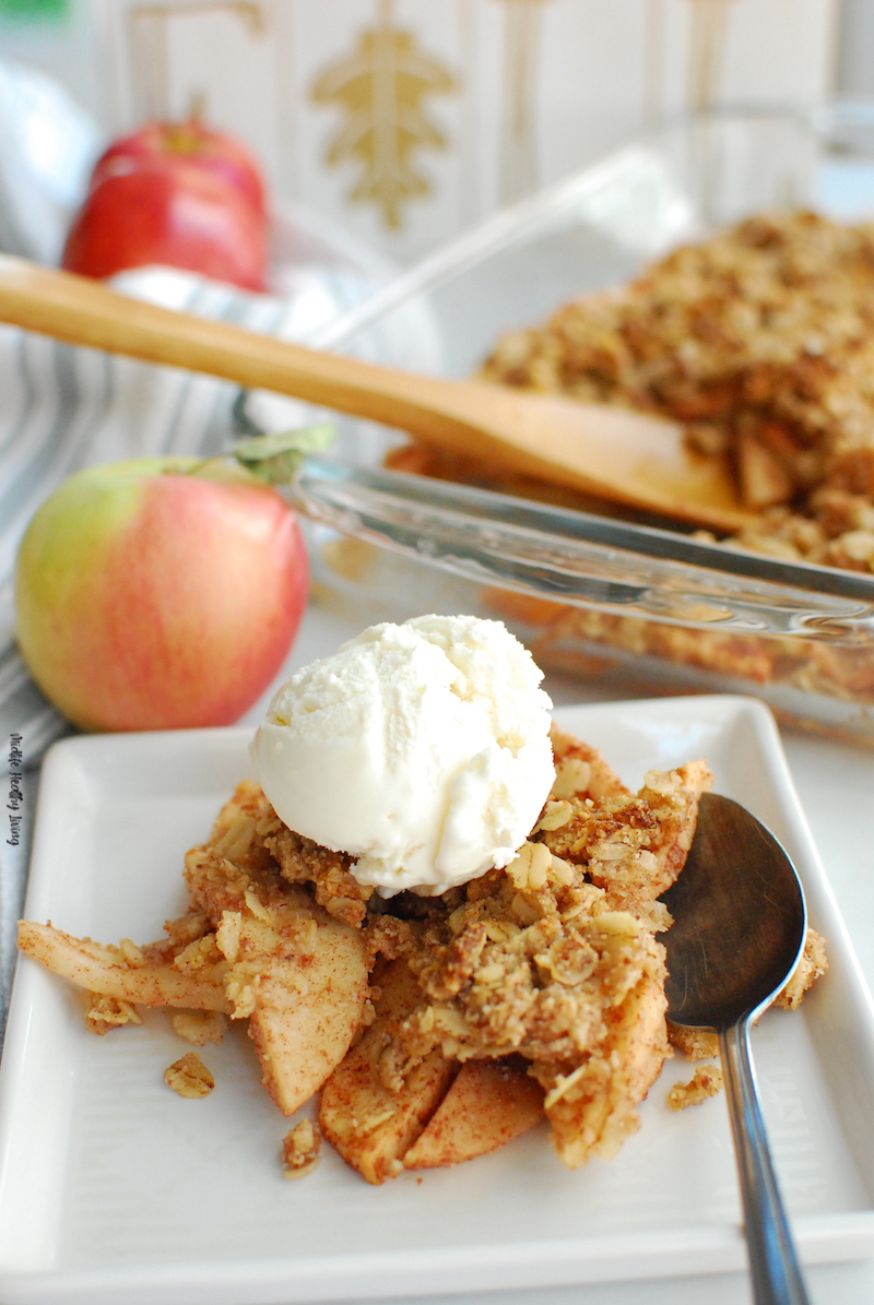 A close up of the finished apple crisp with ice cream ready to eat.