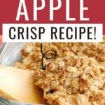 Pin showing the finished apple crisp for weight watchers with title at the top.