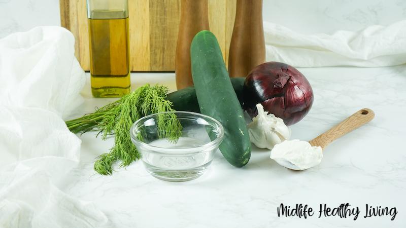 Ingredients needed to make Weight Watchers cucumber salad.