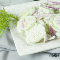 Image showing the finished weight watchers cucumber salad on a plate ready to eat.