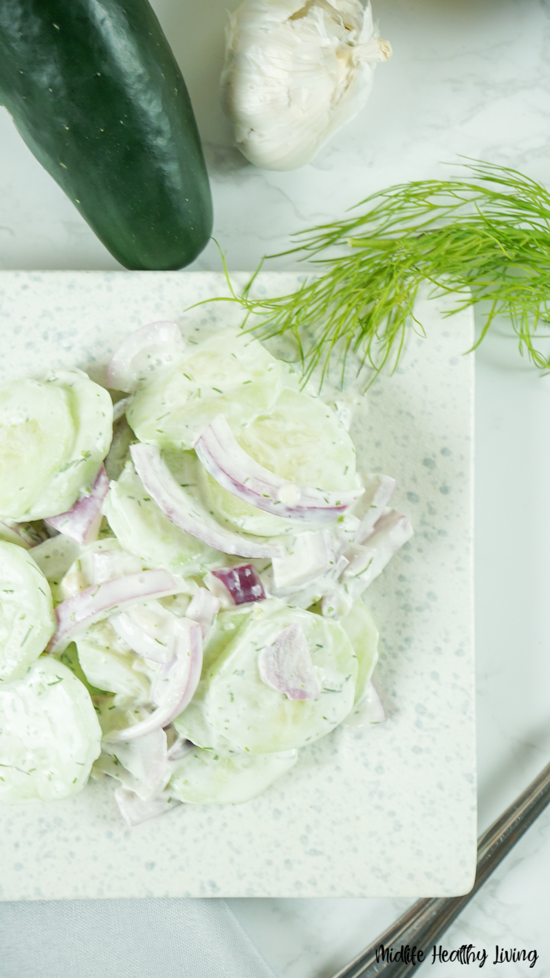 A top down look at the finished cucumber salad ready to serve.