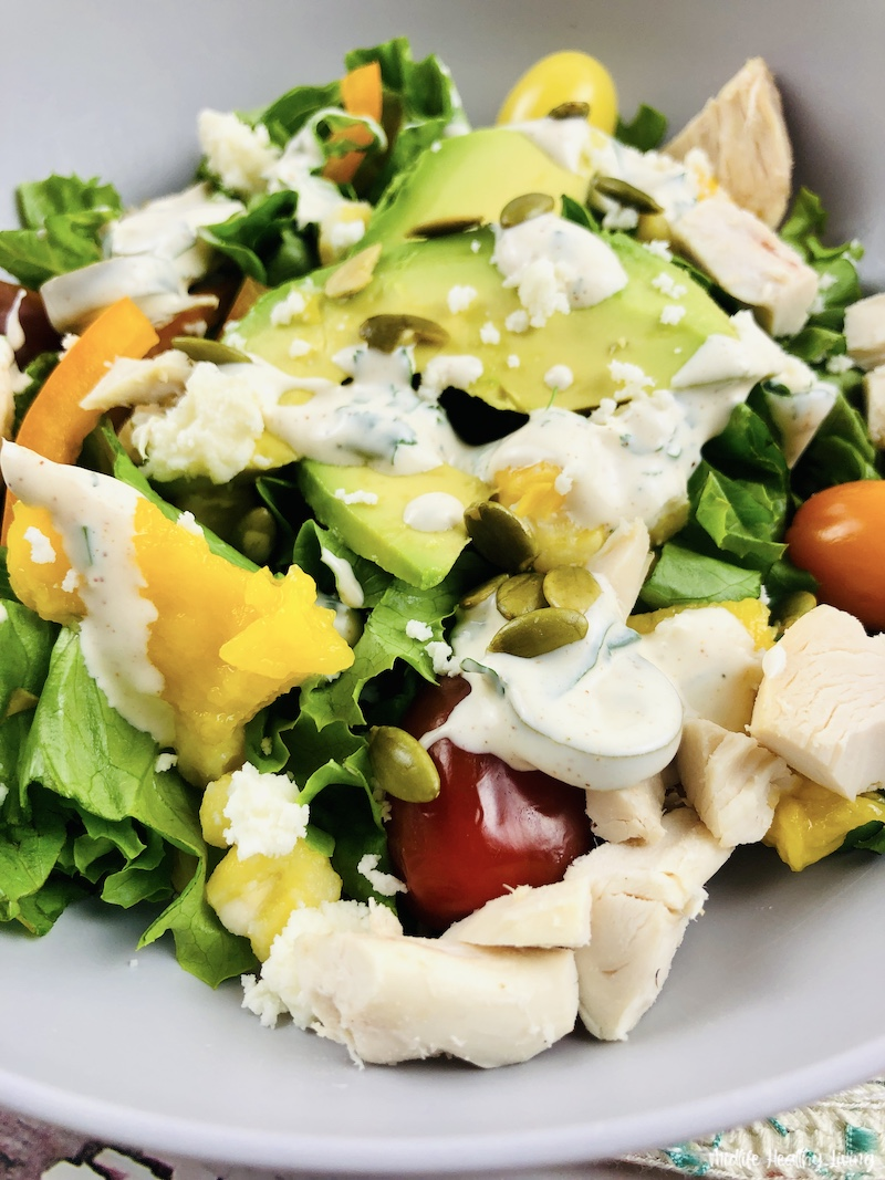 Close up of the finished weight watchers Southwest chicken salad recipe ready to eat.