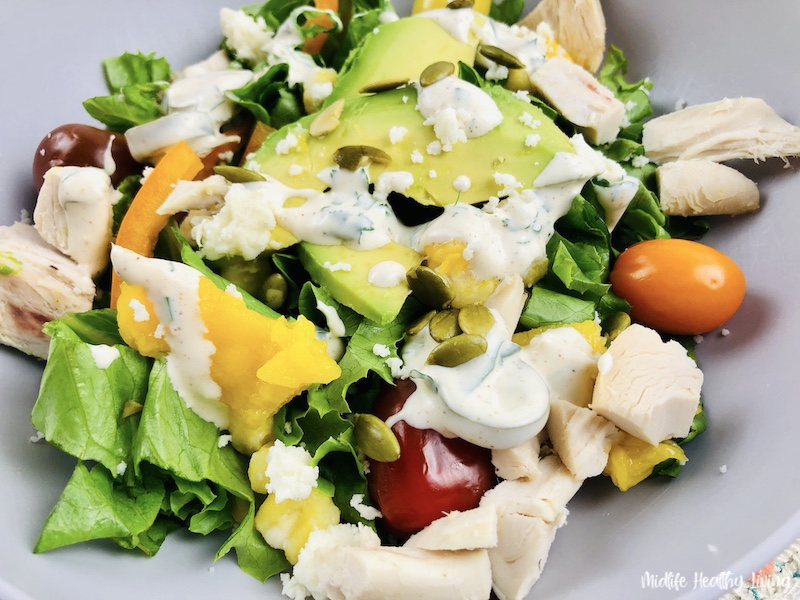 Close up of the finished weight watchers Southwest chicken salad ready to eat.