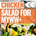 Featured image showing the pin and the title over top of an image of the finished southwest chicken salad for Weight Watchers.