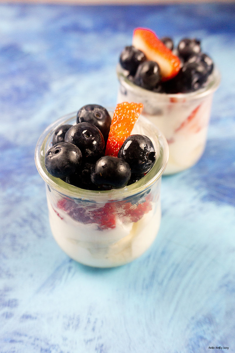 a top down look at the finished fruit and yogurt parfaits.