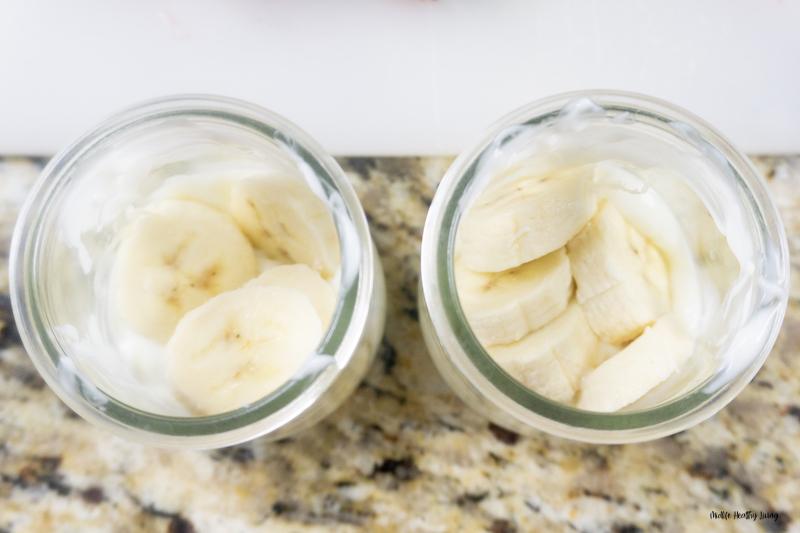 yogurt and bananas layered.
