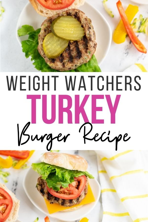 Pin showing the weight watcher turkey burgers ready to eat with title across the middle.