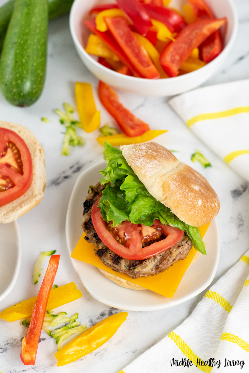 A top down look at the finished weight watcher turkey burgers ready to eat.