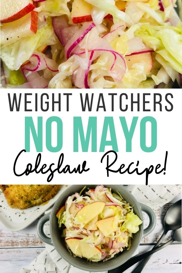 Pin showing the finished weight watchers coleslaw recipe no mayo ready to eat with title across the middle.