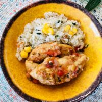 Featured image showing a finished weight watchers salsa chicken recipe with rice on a plate ready to eat.