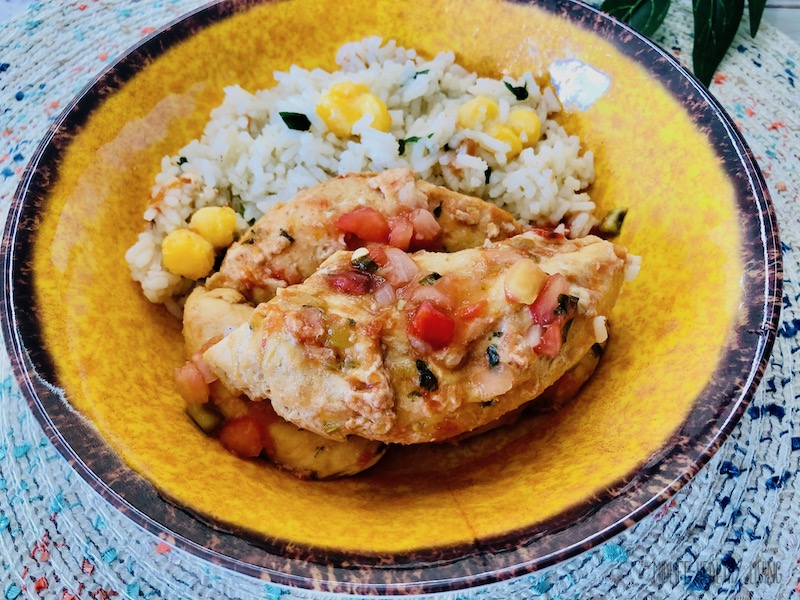A view of the finished salsa chicken for Weight Watchers ready to eat.