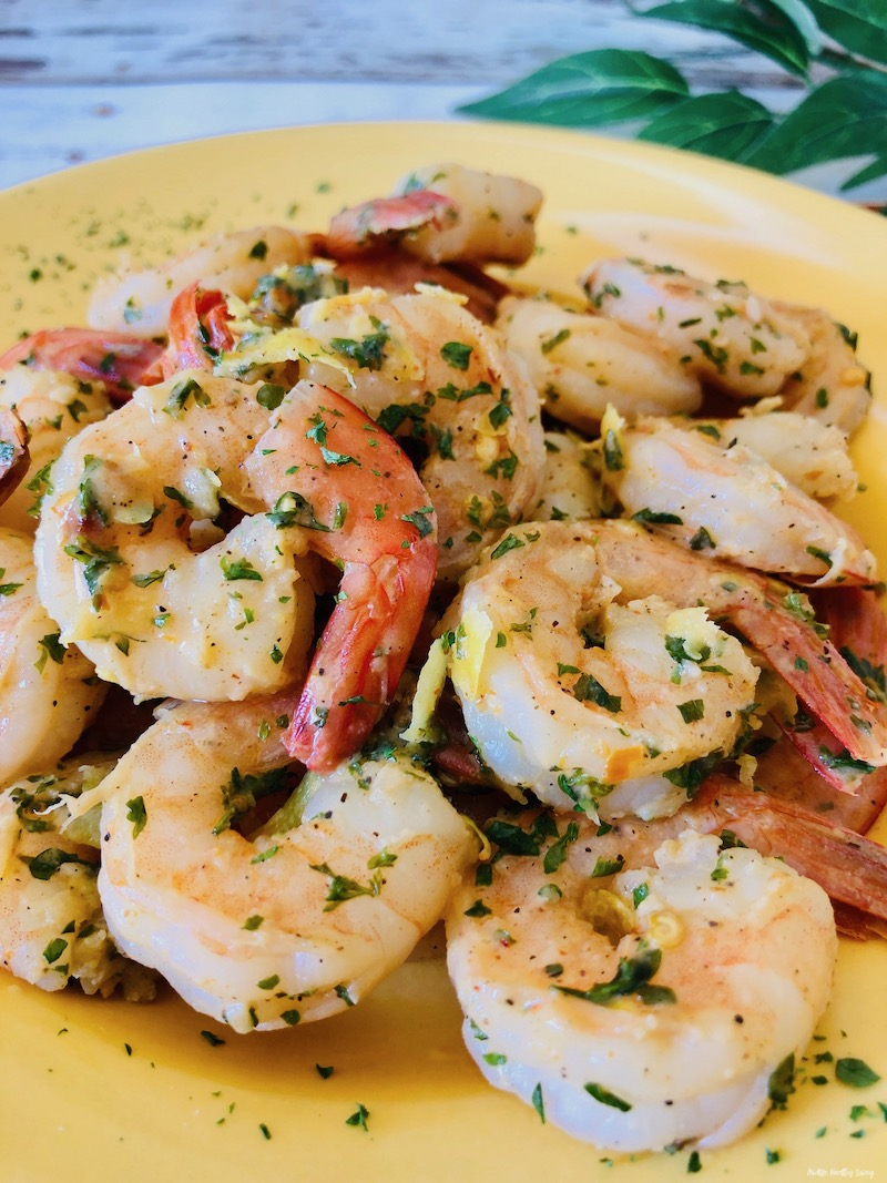 A look at the plate full of finished shrimp ready to eat.