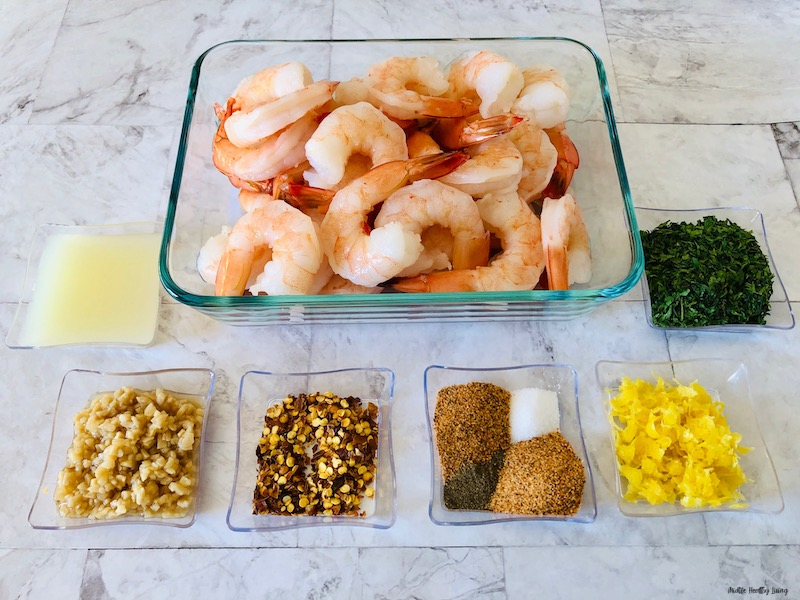 ingredients needed to make weight watchers shrimp recipe laid out before we begin cooking.