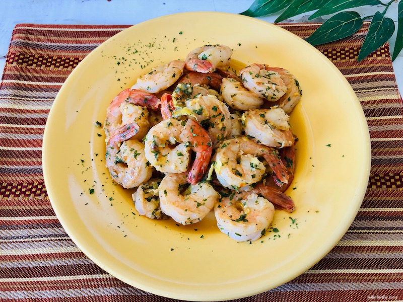 Featured image showing the finished weight watchers shrimp recipe on a yellow plate ready to serve.