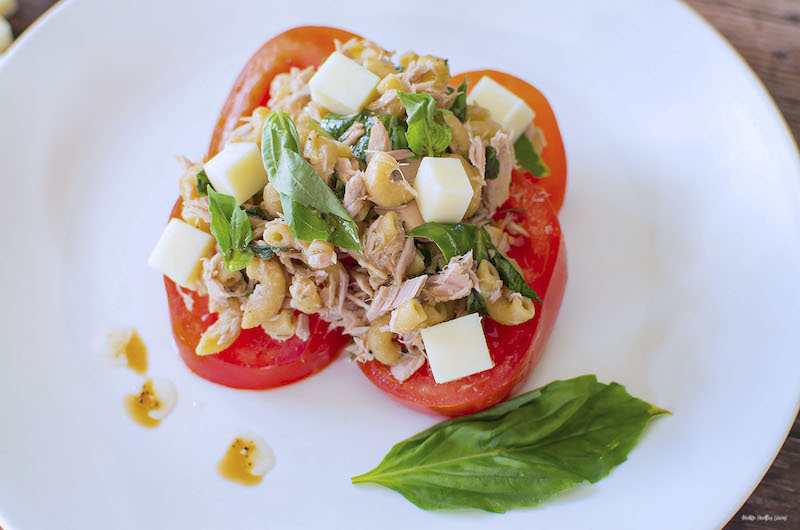 Close up featured image showing the finished weight watchers tuna pasta salad ready to eat on a plate.