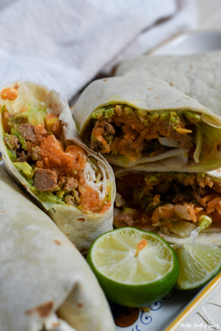 featured image showing the finished weight watchers ground turkey burritos ready to eat.