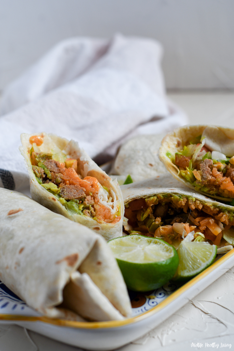 A look at the finished and wrapped weight watchers ground turkey burritos ready to eat.